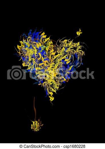 Corazón ardiente con azul - csp1680228