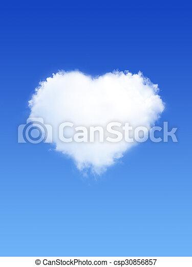 Nubes blancas en forma de corazón en el cielo azul - csp30856857