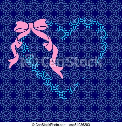 Corazón azul con un lazo rosa - csp54036283