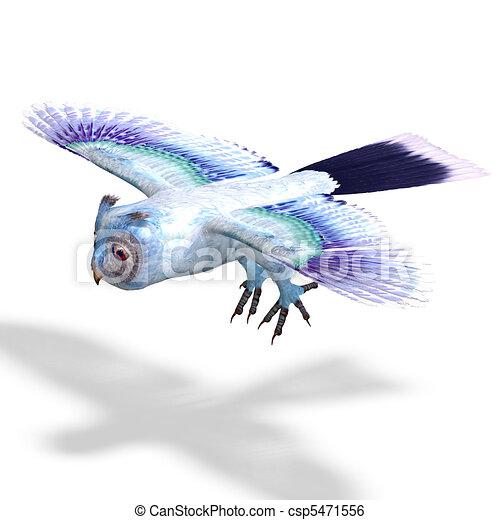azul, cortando, owl.3d, fazendo, luz, sobre, fantasia, caminho, sombra, branca - csp5471556