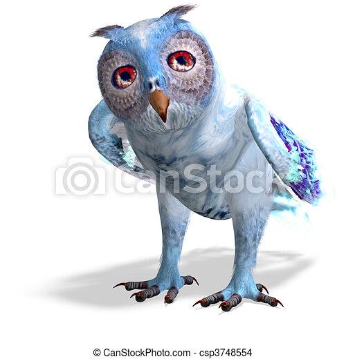 azul, cortando, owl.3d, fazendo, luz, sobre, fantasia, caminho, sombra, branca - csp3748554