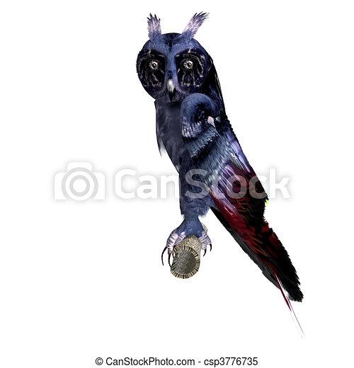 azul, coruja, cortando, fantasia, sobre, escuro, fazendo, colors., caminho, sombra, branca, 3d - csp3776735