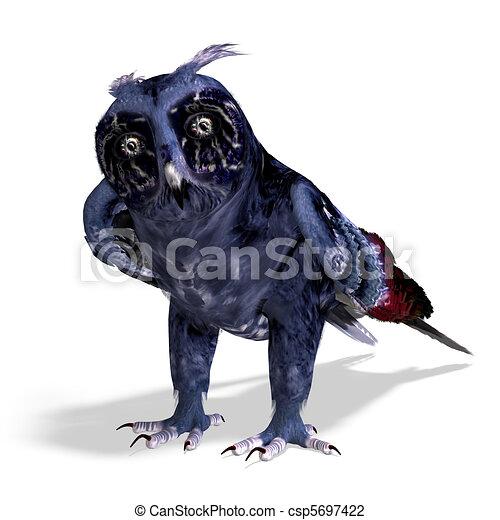azul, coruja, cortando, fantasia, sobre, escuro, fazendo, colors., caminho, sombra, branca, 3d - csp5697422