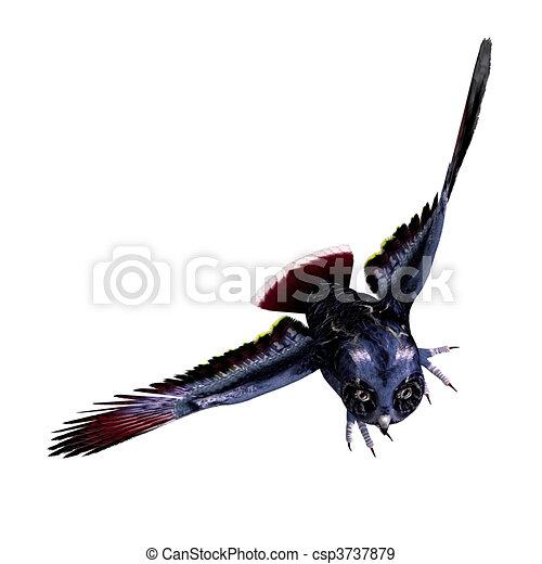 azul, coruja, cortando, fantasia, sobre, escuro, fazendo, colors., caminho, sombra, branca, 3d - csp3737879