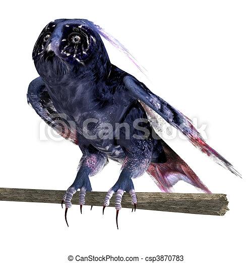 azul, coruja, cortando, fantasia, sobre, escuro, fazendo, colors., caminho, sombra, branca, 3d - csp3870783
