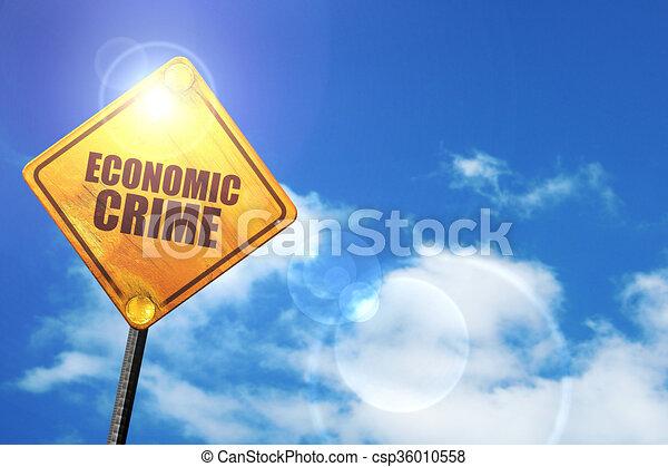 Señal de carretera amarilla con un cielo azul y nubes blancas: crisis económica - csp36010558