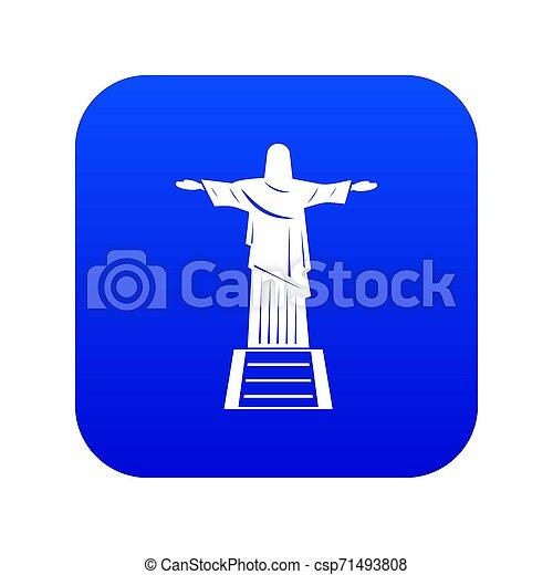 El Cristo Redentor de la estatua azul digital - csp71493808