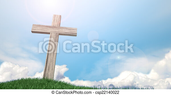 azul, crucifijo, cielo, herboso, colina - csp22140022