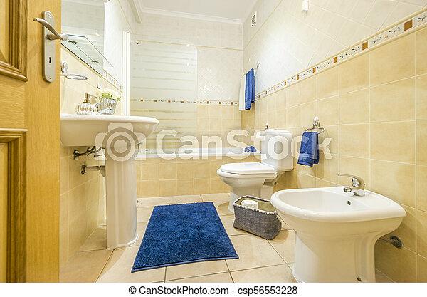 azul, cuarto de baño, alfombra, toallas, clásico