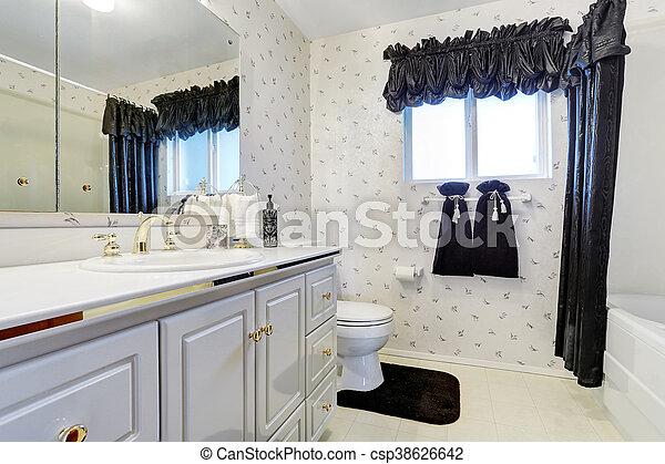 azul, cuarto de baño, gabinetes, piso, oscuridad, elegante, azulejo,  blanco, cortina