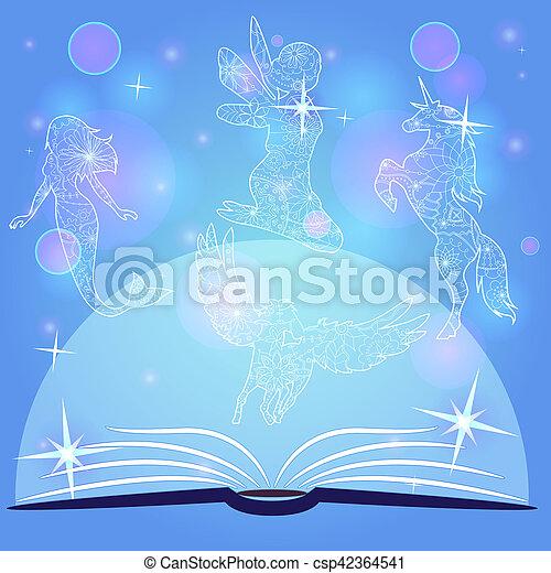 Trasfondo azul de Bokeh con libro de cuentos de hadas - csp42364541