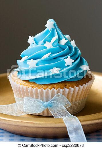 Azul Cupcake Unico Estrelas Decorado Fita Organza