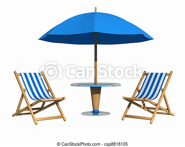 Silla azul y sombrilla - csp8818105