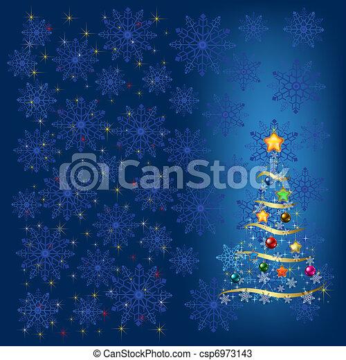 Árbol navideño con decoración y copos de nieve azules - csp6973143