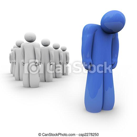 azul, deprimido, -, uma pessoa, sentimento - csp2278250