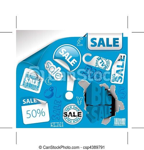 Boletos de descuento azul, etiquetas - csp4389791