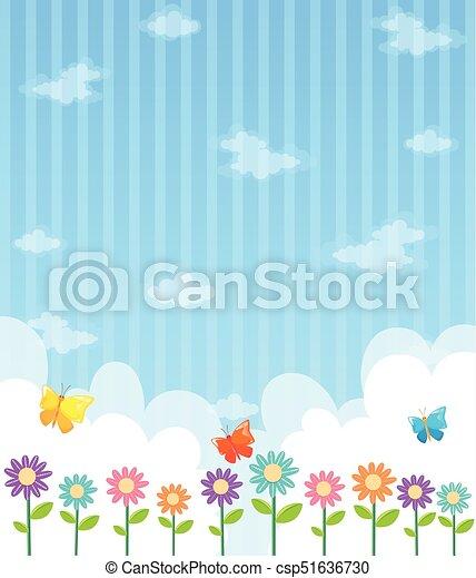 Azul Desenho Flores Ceu Fundo Ceu Azul Ilustracao Desenho
