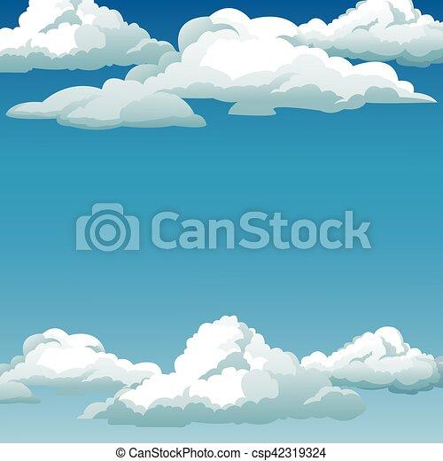 Azul Desenho Nuvens Fundo Ceu Azul 10 Nuvens Ceu Eps