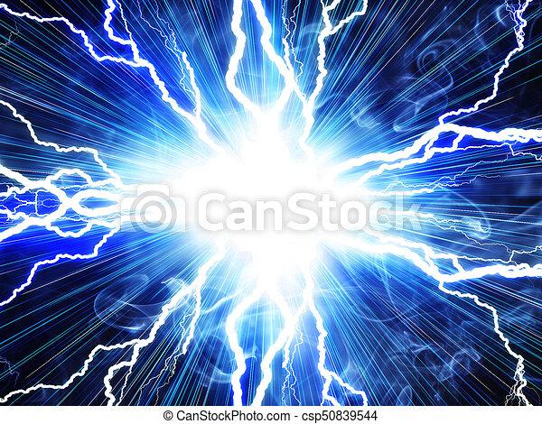 Un rayo eléctrico en un fondo azul - csp50839544