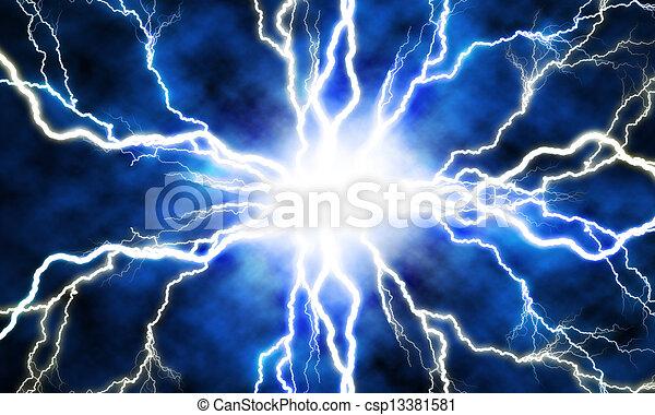 Un rayo eléctrico en un fondo azul - csp13381581