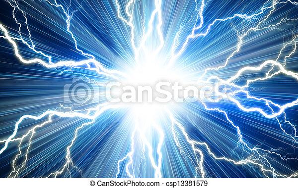 Un rayo eléctrico en un fondo azul - csp13381579