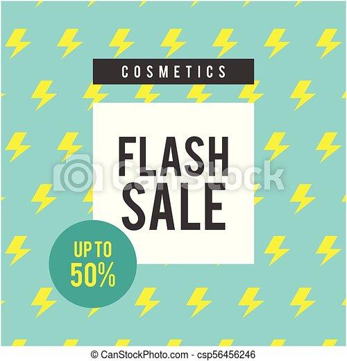 Los cosméticos se venden a 50% de la imagen del vector azul de fondo - csp56456246