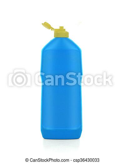 Botella de plástico azul con detergente aislado en fondo blanco. - csp36430033