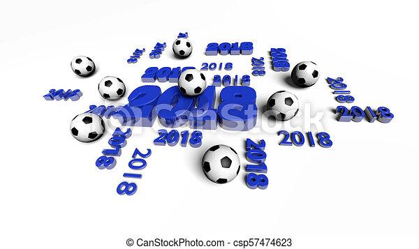 Azul Diseños Pelotas Fútbol Algunos 2018 Vista Perspectiva