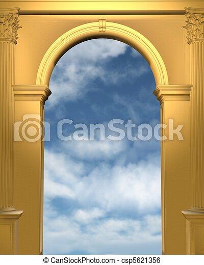 El arco dorado con cielo azul - csp5621356
