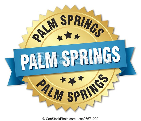 azul, dourado, molas palma, emblema, redondo, fita - csp36671220