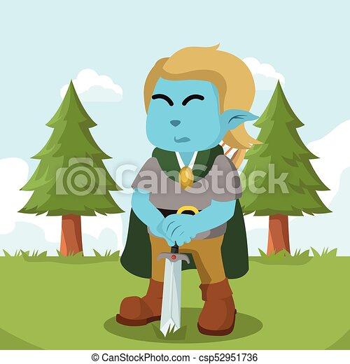 azul, duende, espada, coloridos, segurando - csp52951736
