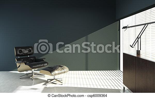 Diseño interior de silla de Eames en la pared azul - csp6009364