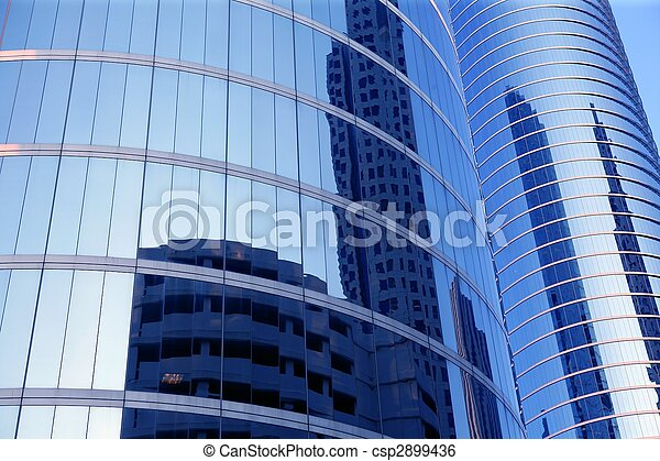 azul, edifícios, vidro, arranha-céu, espelho, fachada - csp2899436
