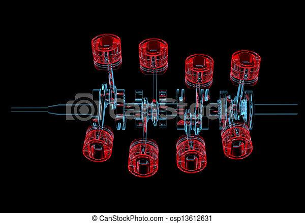 azul, eixo, (3d, transparent), pistões, xray, manivela, vermelho - csp13612631