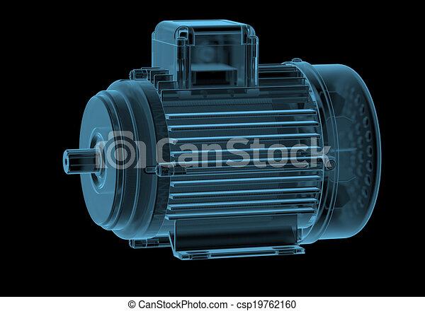 Motor eléctrico con rayos X internos azul transparente aislado en negro - csp19762160