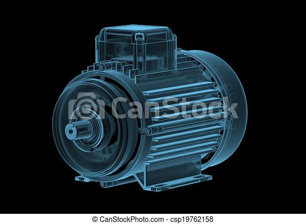 Motor eléctrico con rayos X internos azul transparente aislado en negro - csp19762158