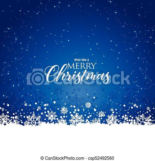Elegante fondo azul de Navidad con copos de nieve - csp52492560