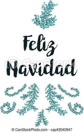 Tarjeta de Navidad en fondo blanco con elementos azules y texto - csp43040947