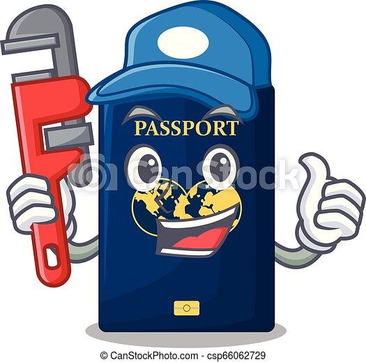 Azul Encanador Isolado Passaporte Desenhos Animados Azul Encanador Cartoonsillustration Isolado Vetorial Passaporte