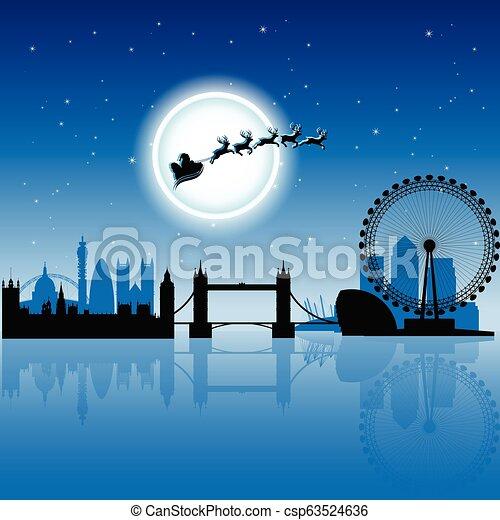 azul, encima, cielo, ilustración, vector, londres, santa, noche - csp63524636