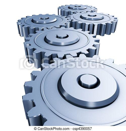 azul, engenharia, engrenagens - csp4390057