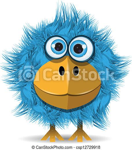 azul, engraçado, pássaro - csp12729918