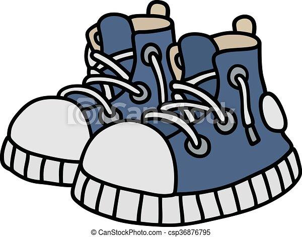azul, engraçado, sneakers - csp36876795
