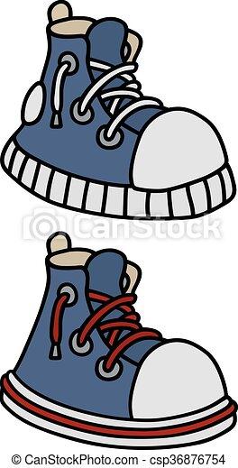 azul, engraçado, sneakers - csp36876754
