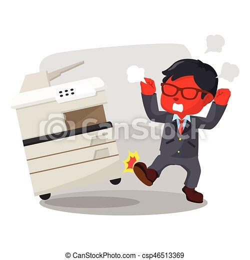 Hombre de negocios azul pateando una máquina de fotocopias - csp46513369