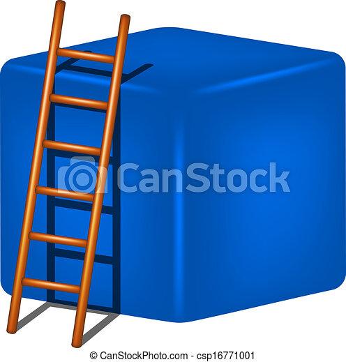 Cubo azul y escalera de madera - csp16771001