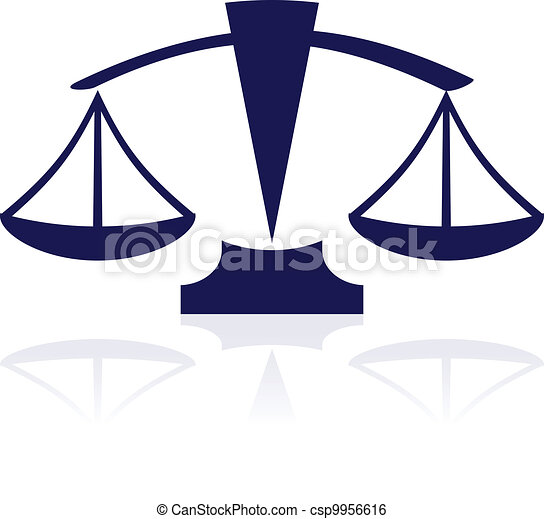Escamas de justicia, vector azul - csp9956616