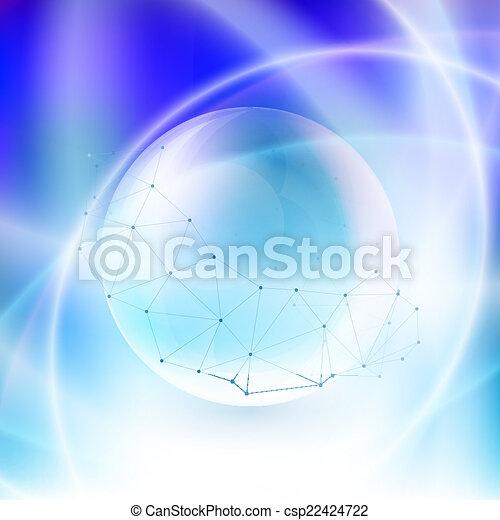 Esfera sobre fondo azul en rayos de luz. - csp22424722