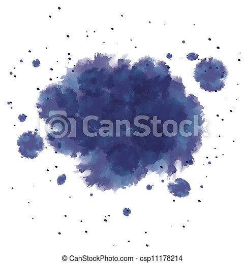 azul, esguichos, aquarela, escuro, tinta - csp11178214