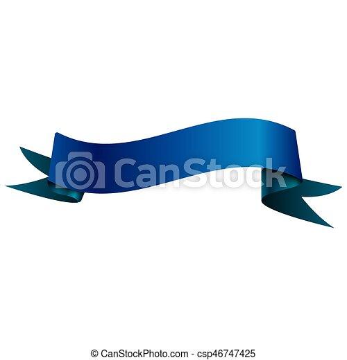 Una cinta azul brillante y realista aislada en fondo blanco. Con espacio para el texto. Ilustración de vectores - csp46747425